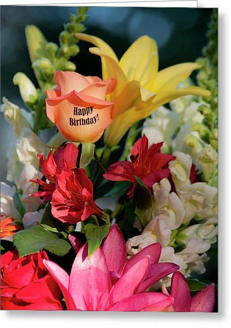 Happy Birthday Flowers - Portrait Greeting Card by ShaddowCat Arts - Sherry