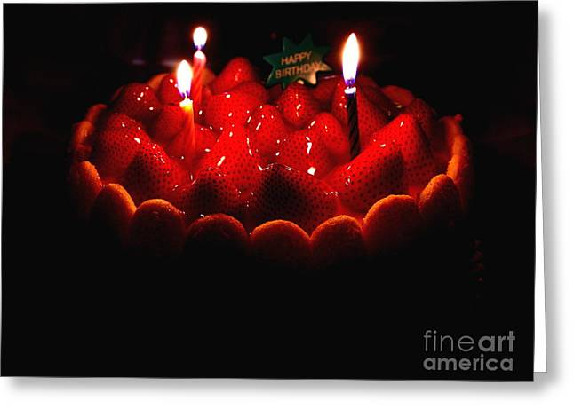 Happy Birthday Strawberry Charlotte Cake Greeting Card by Wingsdomain Art and Photography