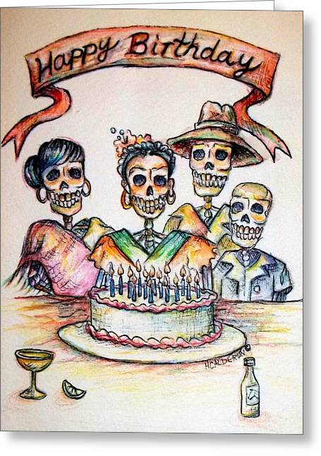 Fiesta Greeting Cards - Happy Birthday woman skull Greeting Card by Heather Calderon