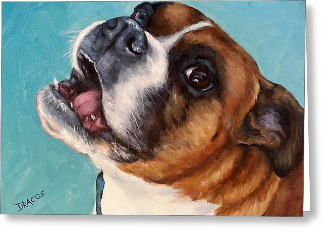 Draco Greeting Cards - Happy Boxer Dog Greeting Card by Dottie Dracos
