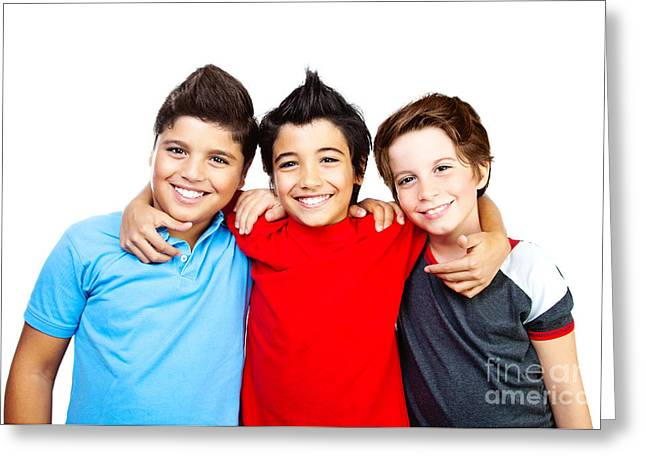 Preteen Greeting Cards - Happy boys teenagers  best friends fun Greeting Card by Anna Omelchenko
