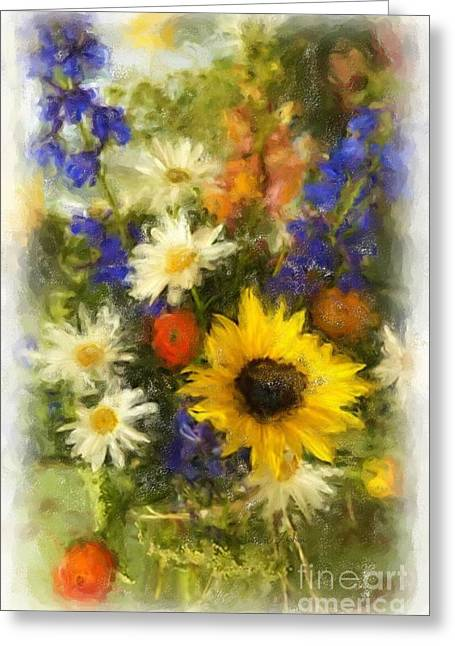 Daisies Pastels Greeting Cards - Happy Bunch Greeting Card by Susan Fisher