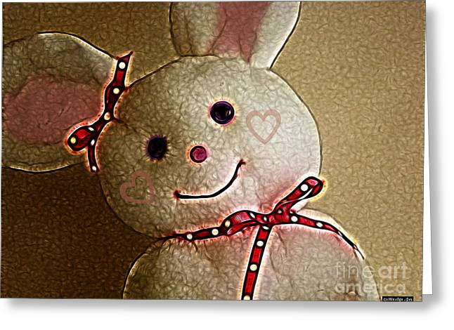 Button Nose Greeting Cards - Happy Bunny Greeting Card by Methune Hively