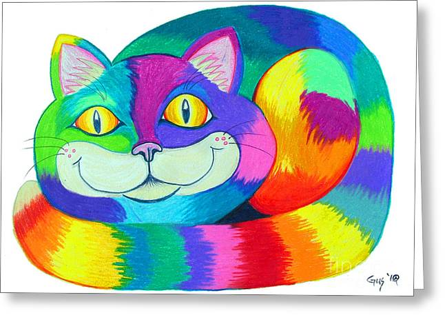 Happy Cats Greeting Cards - Happy Cat Greeting Card by Nick Gustafson
