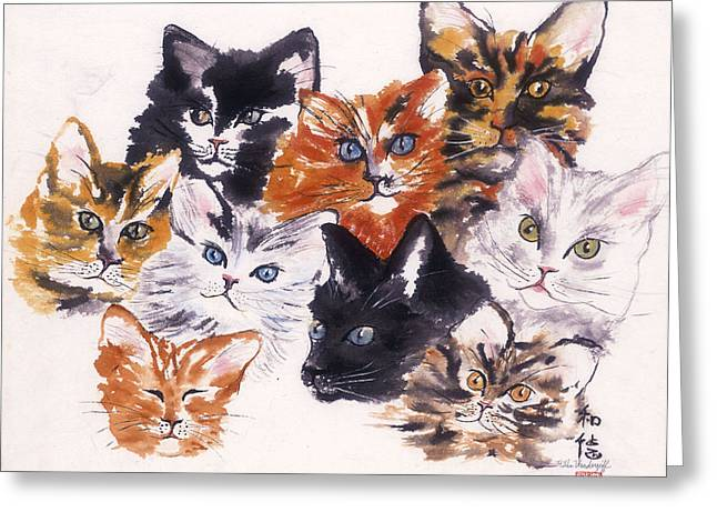 Happy Cats Greeting Card by Hilda Vandergriff