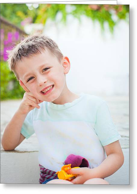 T Shirts Greeting Cards - Happy child Greeting Card by Tom Gowanlock