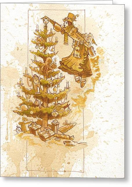 Corsets Greeting Cards - Happy Christmas Greeting Card by Brian Kesinger