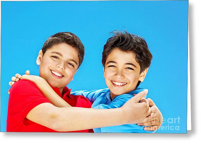 Preteen Greeting Cards - Happy cute boys over blue sky Greeting Card by Anna Omelchenko