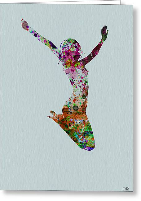 Silhouette Paintings Greeting Cards - Happy dance Greeting Card by Naxart Studio
