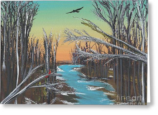 Indiana Rivers Paintings Greeting Cards - Happy Day Greeting Card by Alys Caviness-Gober
