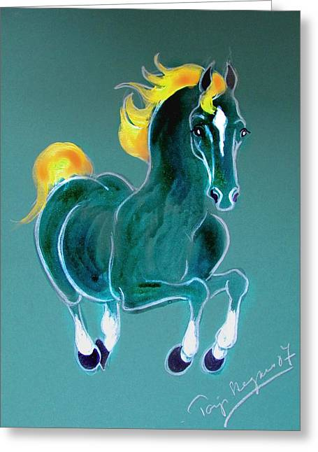 Horse Images Mixed Media Greeting Cards - Happy day Greeting Card by Tarja Stegars