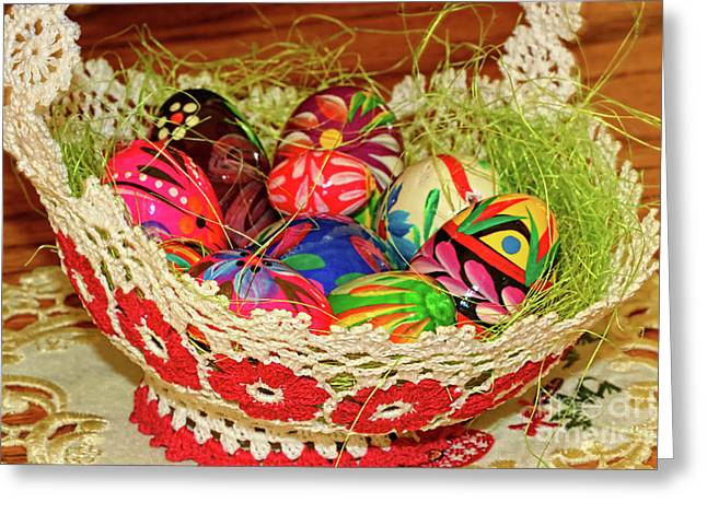 Chicken Laying Eggs Greeting Cards - Happy Easter Basket Greeting Card by Mariola Bitner