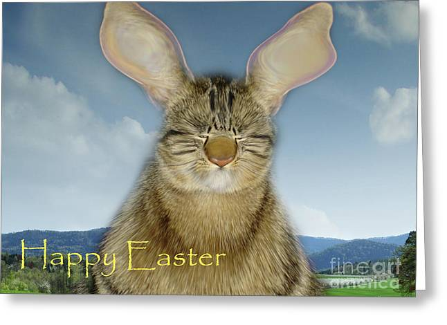 Cat Map Greeting Cards - Happy Easter Greeting Card by Bruno Santoro