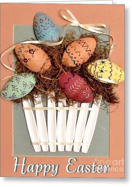 Background Reliefs Greeting Cards - Happy Easter Greeting Card by Marilyn Smith