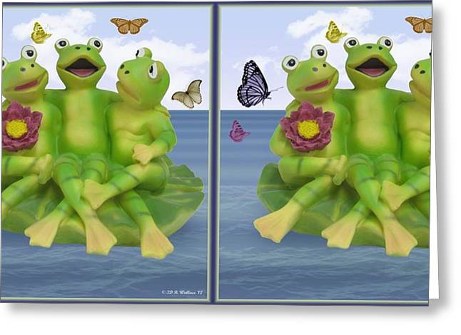 Best Sellers -  - Flying Frog Greeting Cards - Happy Frogs - Gently cross your eyes and focus on the middle image Greeting Card by Brian Wallace