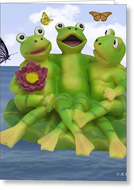Best Sellers -  - Flying Frog Greeting Cards - Happy Frogs Greeting Card by Brian Wallace