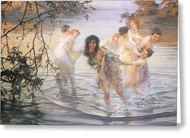Pond.  Greeting Cards - Happy Games Greeting Card by Paul Chabas