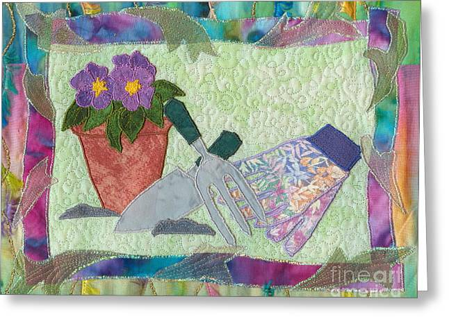 Glove Tapestries - Textiles Greeting Cards - Happy Gardening Greeting Card by Denise Hoag