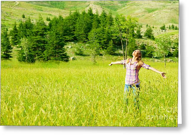 Happy girl enjoying nature Greeting Card by Anna Omelchenko