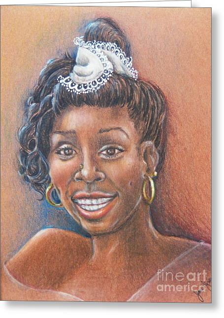African-american Drawings Greeting Cards - Happy Groupie Greeting Card by Jane Jolly Chappell