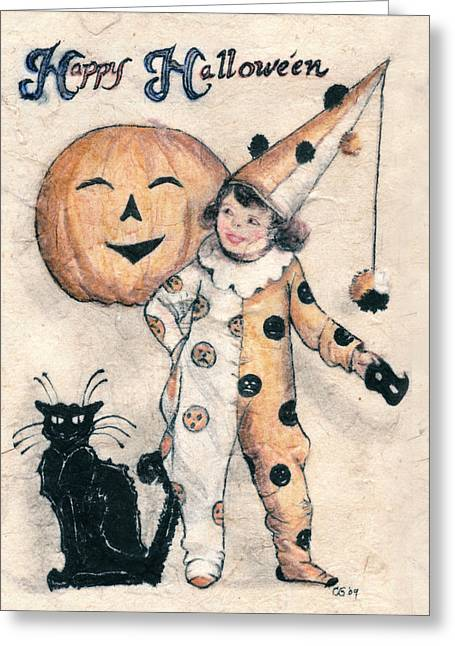 Cards Vintage Mixed Media Greeting Cards - Happy Halloween  Greeting Card by Carrie Jackson