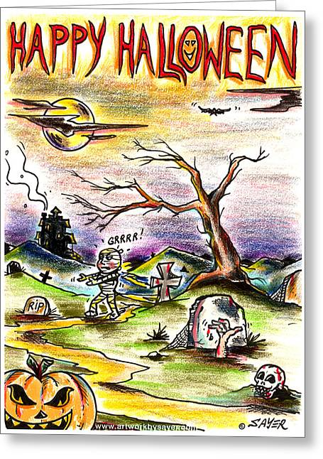 Haunted House Greeting Card Greeting Cards - Happy Halloween Greeting Card by James Sayer