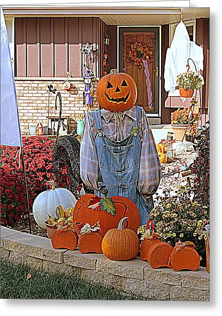 Overalls Digital Art Greeting Cards - Happy Halloween Greeting Card by Kay Novy