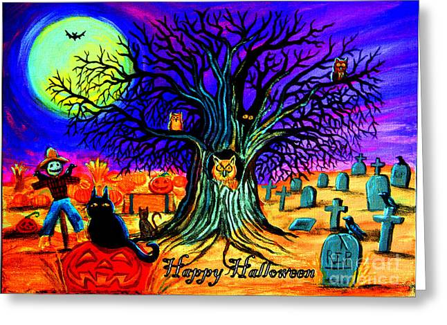 Spooky Night Greeting Cards - Happy Halloween Spooky Night Greeting Card by Nick Gustafson