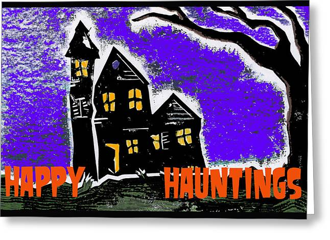 HAPPY HAUNTINGS Greeting Card by Jame Hayes