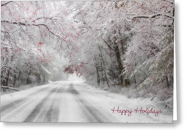 Wintry Photographs Greeting Cards - Happy Holidays - Clarks Valley Greeting Card by Lori Deiter