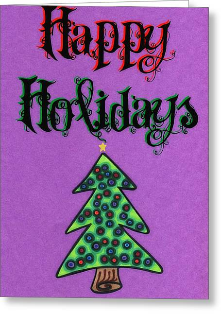 Unique Christmas Cards Greeting Cards - Happy Holidays purple Greeting Card by Mandy Shupp