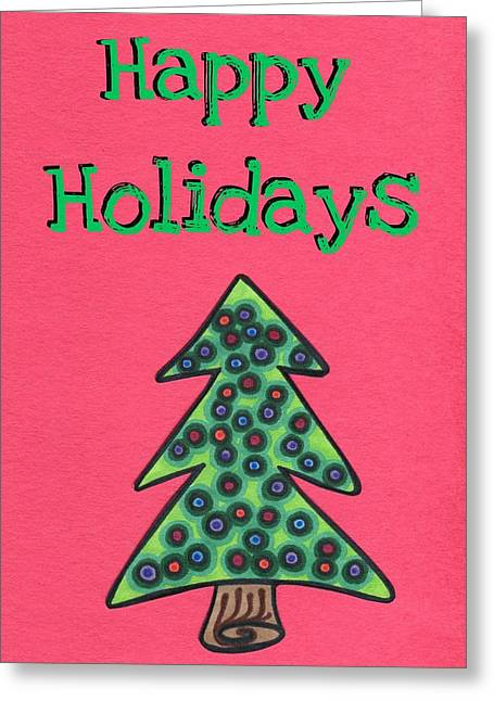 Unique Christmas Cards Greeting Cards - Happy Holidays red Greeting Card by Mandy Shupp