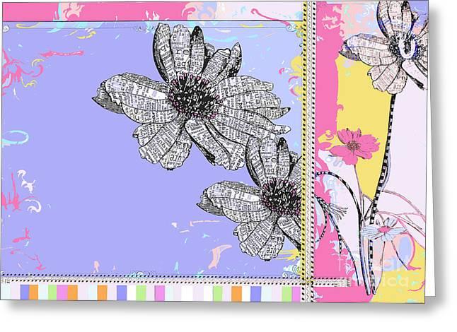 Happy Joyful Flowers Licensing Art Greeting Card by Anahi DeCanio