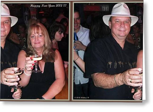 Happy New Year - Gently cross your eyes and focus on the middle image that appears Greeting Card by Brian Wallace