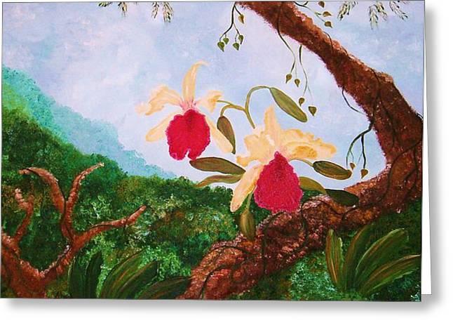 Alanna Hug-mcannally Greeting Cards - Happy Orchids Greeting Card by Alanna Hug-McAnnally