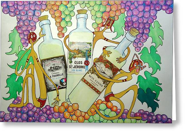 Fancy-full Greeting Cards - Happy People with Wine Greeting Card by Glenn Calloway
