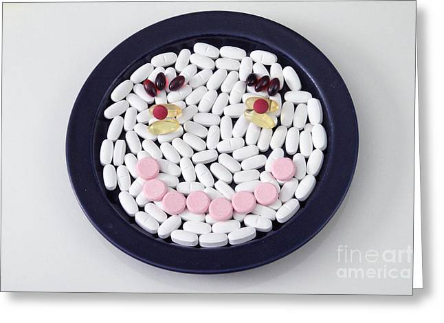 Pill Greeting Cards - Happy Pills Greeting Card by Photo Researchers, Inc.