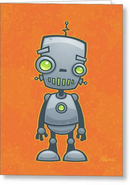 Friendly Greeting Cards - Happy Robot Greeting Card by John Schwegel