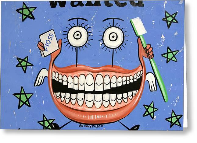 Happy Teeth Greeting Card by Anthony Falbo