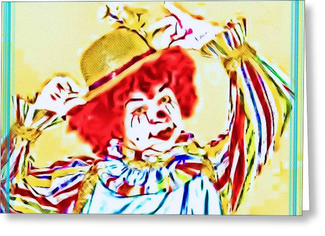 Humur Greeting Cards - Happy the Clown Greeting Card by Tisha McGee
