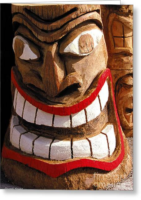 Wood Carving Greeting Cards - Happy Totem Greeting Card by Cheryl Young