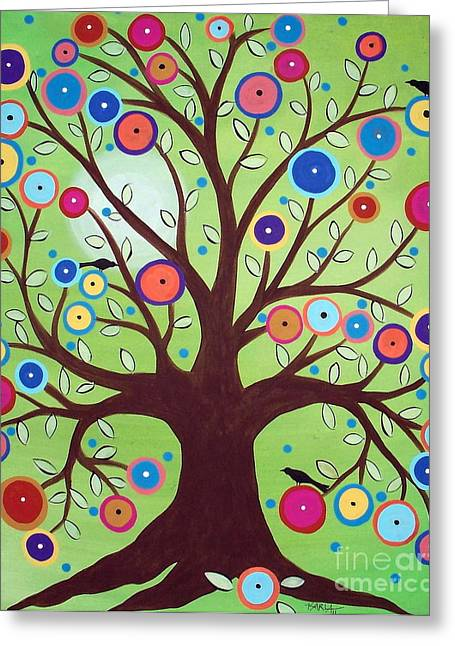 Primitives Greeting Cards - Happy Tree Greeting Card by Karla Gerard