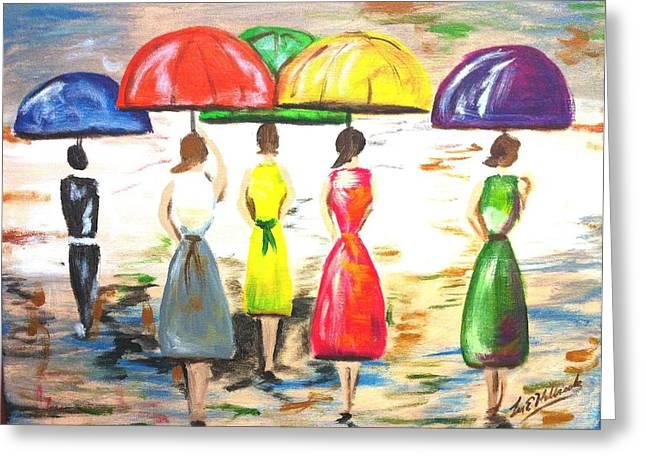 Happy Umbrellas Greeting Card by Lee Halbrook