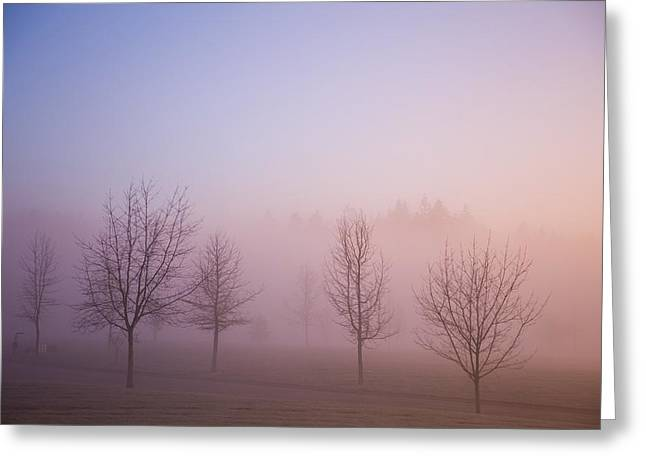 Happy Valley, Oregon, Usa Foggy Sunrise Greeting Card by Craig Tuttle
