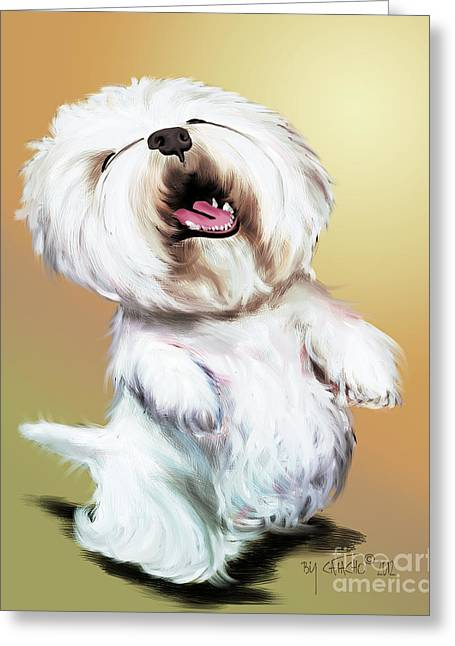 White Terrier Mixed Media Greeting Cards - Happy Westie Greeting Card by Catia Cho