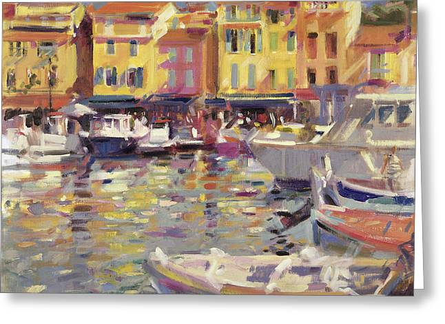 Azur Greeting Cards - Harbor at Cassis Greeting Card by Peter Graham