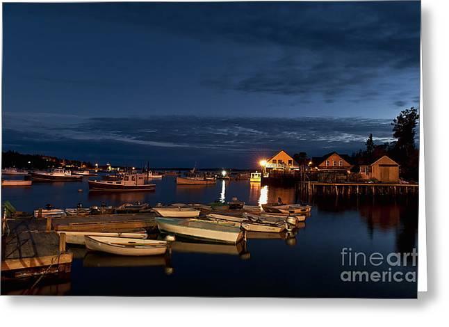 New England Village Greeting Cards - Harbor at Night Greeting Card by John Greim