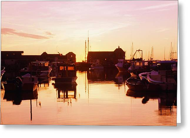 Boats In Reflecting Water Photographs Greeting Cards - Harbor At Sunrise Greeting Card by Bilderbuch