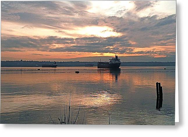 Commencement Bay Greeting Cards - Harbor at sunset Greeting Card by Sean Griffin