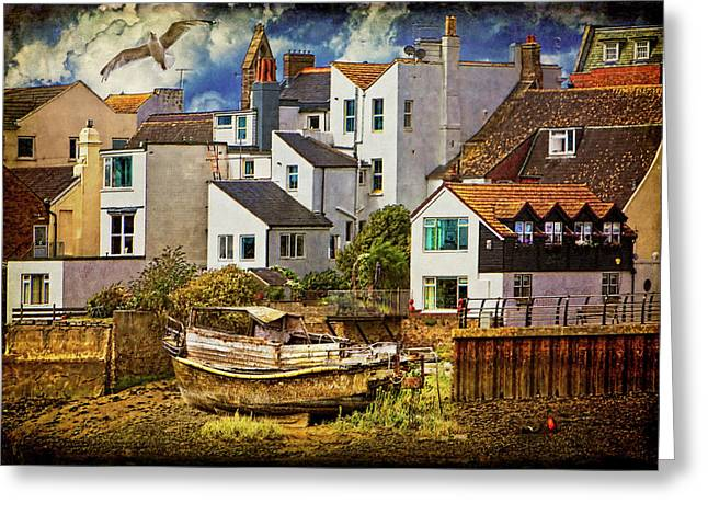 Port Town Digital Art Greeting Cards - Harbor Houses Greeting Card by Chris Lord